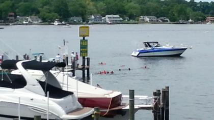 A boat explosion injured seven people in Edgewater on Monday, May 27, 2013. (Credit: George Mesthos/All-News 99.1 WNEW)