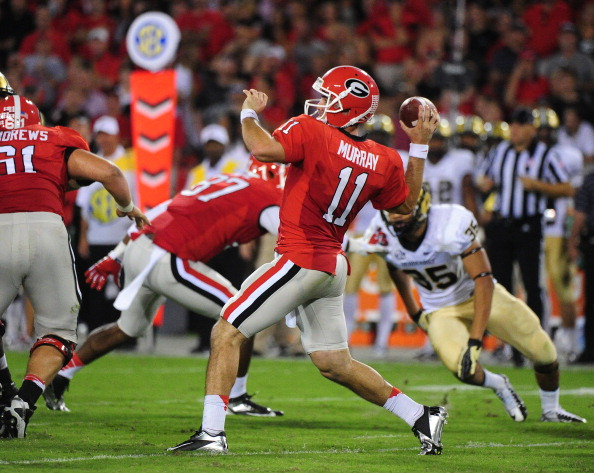 ATHENS, GA - SEPTEMBER 22: Aaron Murray #11 of the Georgia Bulldogs passes against the Vanderbilt Commodores at Sanford Stadium on September 22, 2012 in Athens, Georgia. (Photo by Scott Cunningham/Getty Images)