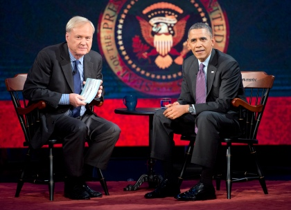 """Chris Matthews sits with President Barack Obama during an appearance on MSNBC's """"Hardball with Chris Matthews"""" at American University on Dec. 5, 2013 in Washington, D.C. (credit: Ron Sachs-Pool/Getty Images)"""