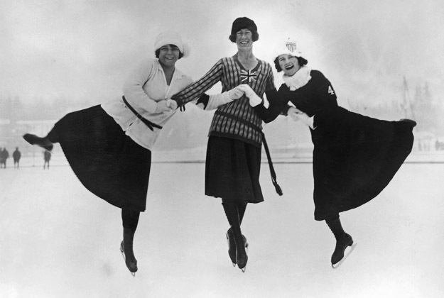 Figure skaters at the 1924 winter Olympics in Chamonix, France, 30th January 1924. Left to right: Herma Planck-Szabo of Hungary, Ethel Muckelt of Britain and Beatrix Loughran of the U.S.A. Planck-Szabo won gold, with Loughran and Muckelt taking silver and bronze respectively.
