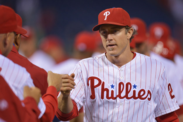 PHILADELPHIA, PA - SEPTEMBER 17:  Chase Utley #26 of the Philadelphia Phillies celebrates with teammates after a win over the the Miami Marlins 6-4 at Citizens Bank Park on September 17, 2013 in Philadelphia, Pennsylvania.