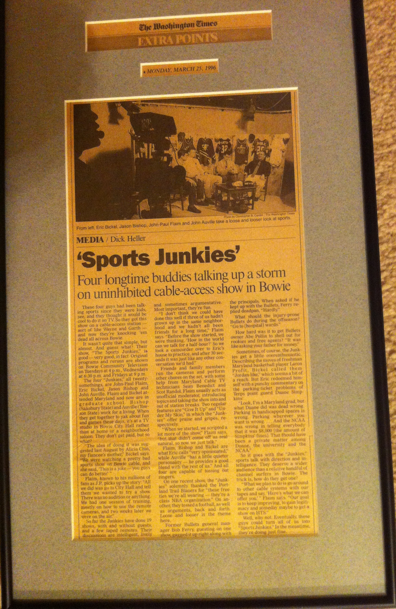 A framed copy of the article written by Dick Heller still hangs in the home of JP Flaim today, nearly 18 years after it first ran in The Washington Times. (Credit: @GlassJoeJP)