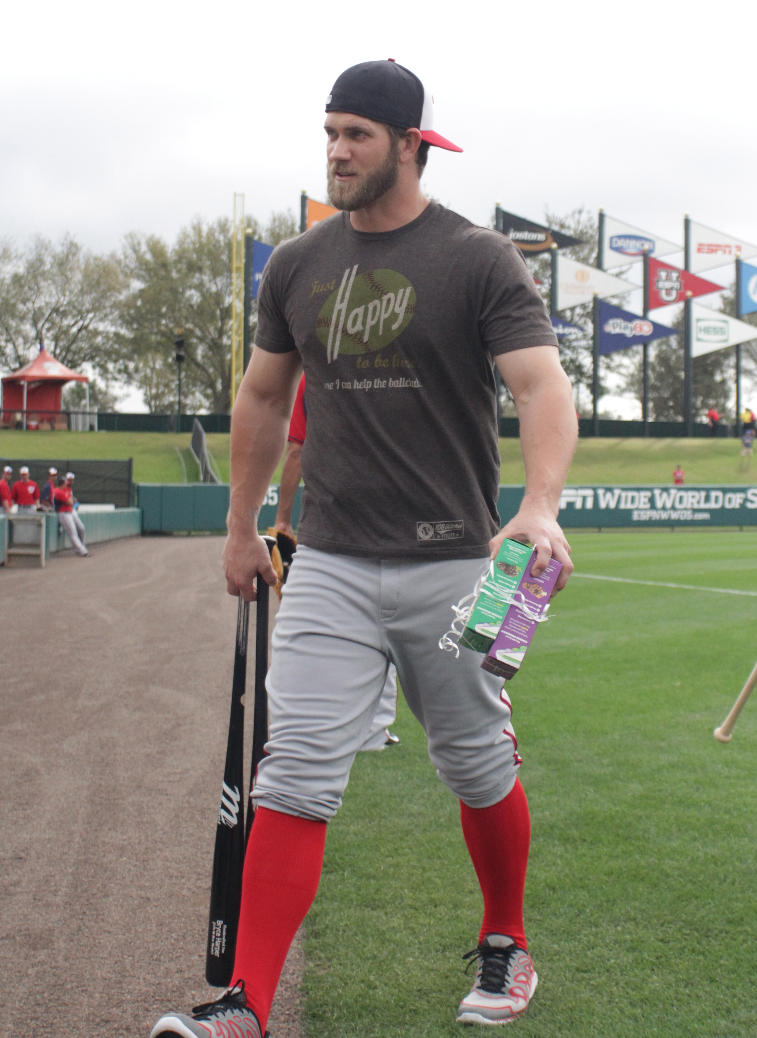 Bryce Harper had said he'd worked out hard in the offseason, often tweeting photos of himself hitting the weights. But until this photo surfaced of Harper, prior to a Nats spring training game against the Braves on Tuesday, March 4, 2014, the mass he'd packed on perhaps hadn't been so evident. (Photos by Sheahin/Sousa as special to WJFK)