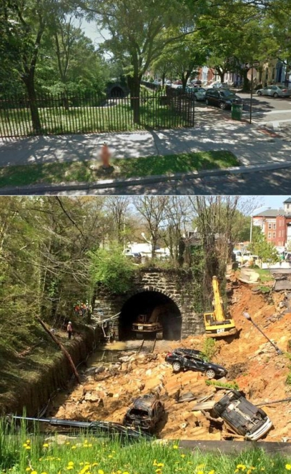 Before and after photos of  East 26th Street between North Charles and North St. Paul in Baltimore. The road collapsed after heavy rain hit the area on April 30, 2014. (Top photo by Google Street View, bottom photo by WNEW reporter Kevin Rincon)