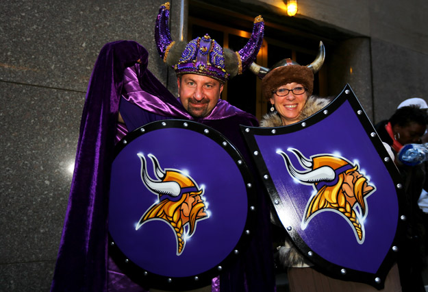 NEW YORK, NY - APRIL 25:  Fans of the Minnesota Vikings show support for their team outside of Radio City Music Hall in the first round of the 2013 NFL Draft at Radio City Music Hall on April 25, 2013 in New York City.