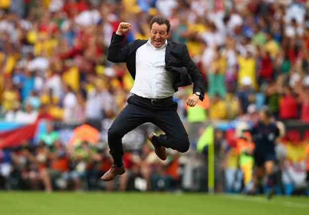 RIO DE JANEIRO, BRAZIL - JUNE 22:  Head coach Marc Wilmots of Belgium reacts after defeating Russia 1-0 during the 2014 FIFA World Cup Brazil Group H match between Belgium and Russia at Maracana on June 22, 2014 in Rio de Janeiro, Brazil.  (Photo by Clive Rose/Getty Images)