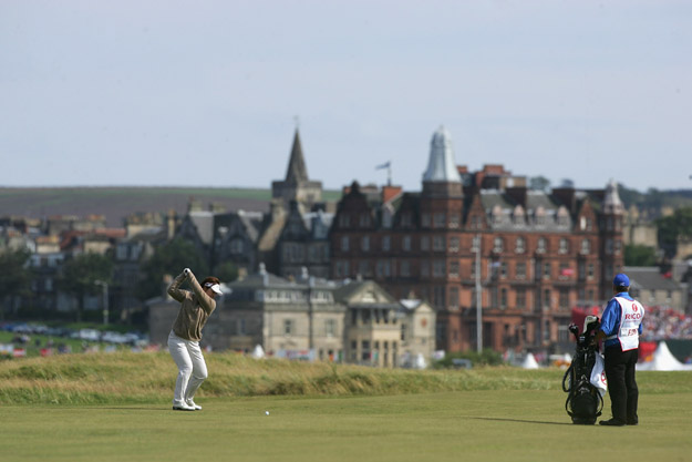 ST ANDREWS, UNITED KINGDOM - AUGUST 04:  Yuri Fudoh of Japan hits her second shot on the 14th hole during the Third Round of the 2007 Ricoh Women's British Open held on the Old Course at St Andrews on August 4, 2007 in St Andrews, Scotland.