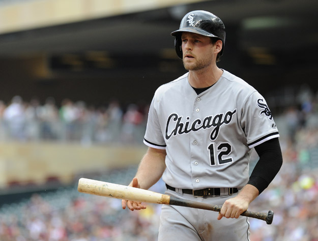 MINNEAPOLIS, MN - JUNE 22: Conor Gillaspie #12 of the Chicago White Sox reacts to striking out against the Minnesota Twins during the second inning of the game on June 22, 2014 at Target Field in Minneapolis, Minnesota. The Twins defeated the White Sox 6-5.