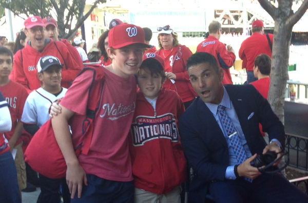 Alec Tongour poses for a picture with older brother Jack (left) and Nationals television announcer F.P. Santangelo (right).