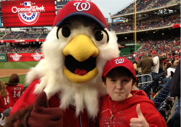 Alec Tongour (right) welcomes in the 2014 Nationals season with team mascot Screech (left).