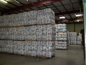 Quilts baled and ready to be sent overseas. Each bale contains between 30 and 35 Quilts, and can weigh between 100 and 120 pounds. (Credit: Jenny Glick/NewsRadio 99.1)
