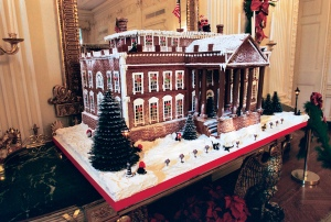 This gingerbread White House from 1993, built to scale for the Clintons, was titled The House of Socks. It featured twenty-two marzipan sculptures of the first family's famous cat. (Credit:  White House Historical Association)