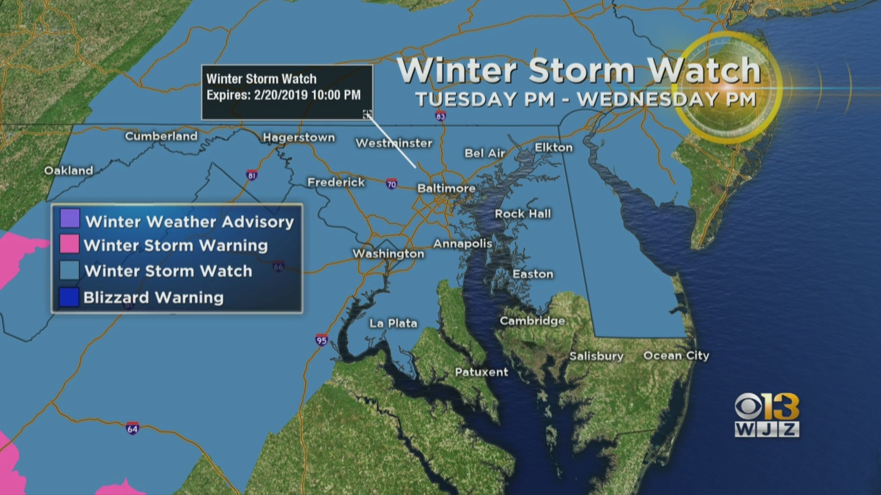 Baltimore Weather Winter Storm Watch Issued For Maryland