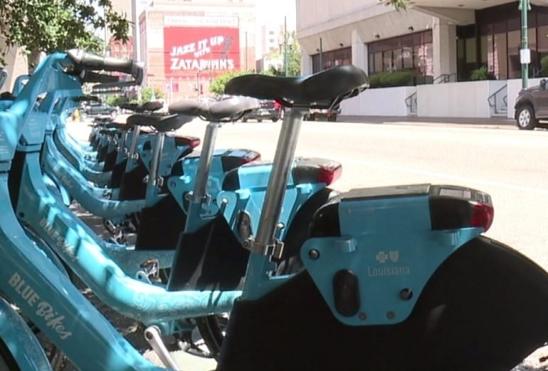 Naked cyclists used public rental bikes in New Orleans event